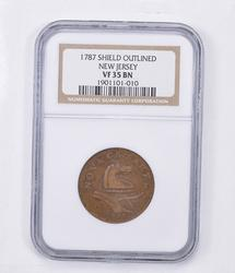 VF35 BN 1787 New Jersey Post-Colonial Issue - Shield Outlined - NGC