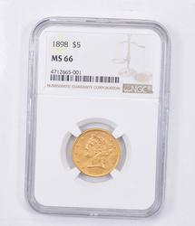 MS66 1898 $5.00 Liberty Head Gold Half Eagle - Almost Perfect - NGC