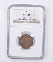 XF45 BN 1869 Two-Cent Piece - Graded NGC