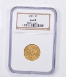 MS63 1903 $5.00 Liberty Head Gold Half Eagle - Graded NGC