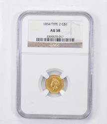 AU58 1854 Indian Princess Head Gold Dollar - Type 2 - Graded NGC