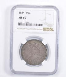 MS60 1824 Capped Bust Half Dollar - Graded NGC