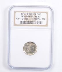 MS63 1916-S Barber Dime - Mint Error: Broadstruck - Graded NGC