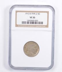 VF35 1913-S Indian Head Buffalo Nickel - Type 2 - Graded NGC