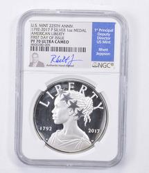 PF70 UCAM 1792-2017-P American Liberty 1 Oz Silver Medal - Graded NGC