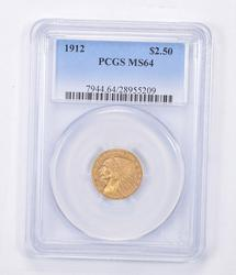 MS64 1912 $2.50 Indian Head Gold Quarter Eagle - Graded PCGS