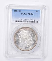 MS63 1885-S Morgan Silver Dollar - Graded PCGS