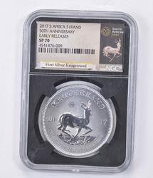 SP70 2017 South Africa Silver Krugerrand - Early Releases - Graded NGC