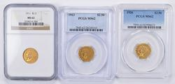 (3) MS62 1911 1913 1926 $2.50 Indian Gold Quarter Eagles NGC & PCGS