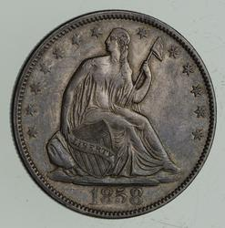 1858 Seated Liberty Half Dollar - Choice