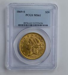MS61 1869-S $20.00 Liberty Head Gold Double Eagle - Graded PCGS