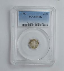 MS63 1862 Silver Three-Cent Piece - Trime - Graded PCGS