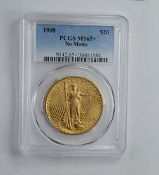 MS65+ 1908 $20.00 Saint-Gaudens Gold Double Eagle - No Motto - PCGS