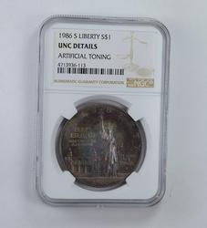 Unc Details 1986-S Statue Of Liberty Silver Dollar - TONED! - NGC