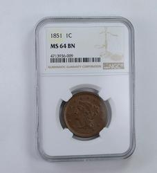 MS64 BN 1851 Braided Hair Large Cent - Graded NGC