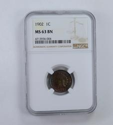 MS63 BN 1902 Indian Head Cent - Blue Tone - Graded NGC