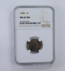 MS62 BN 1900 Indian Head Cent - Blue Tone - Graded NGC