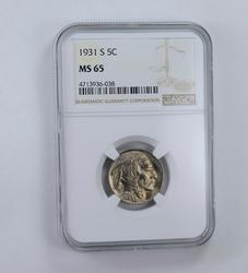MS65 1931-S Indian Head Buffalo Nickel - Graded NGC