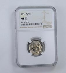 MS65 1931-S Indian Head Buffalo Nickel - Graded NGC