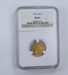 MS62 1910 $2.50 Indian Head Gold Quarter Eagle - Graded NGC