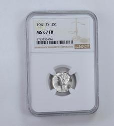 MS67 FB 1941-D Mercury Dime - Graded NGC