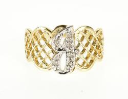 14K Yellow Gold Diamond Encrusted Cursive J Scalloped Lattice Ring