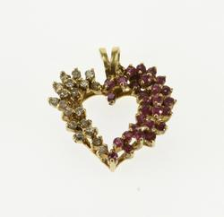 14K Yellow Gold Diamond Ruby Encrusted Cluster Heart Pendant