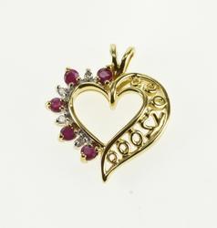 10K Yellow Gold Ruby Diamond Inset Wavy Patterned Heart Pendant