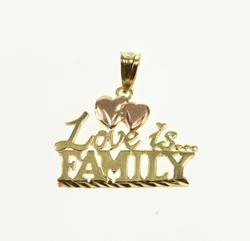 14K Yellow Gold Love Is Family Heart Accent Two Tone Pendant
