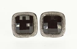 14K White Gold Faceted Round Black Onyx Square Textured Trim EarRings