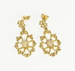 14K Yellow Gold Opal* Inset Decorative Scroll Design Dangle EarRings