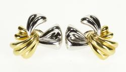 18K White Gold Two Tone Ornate Ribbon Bow French Clip Back EarRings
