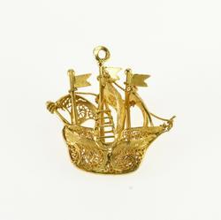 18K Yellow Gold Scroll Filigree Pirate Ship 3D Boat Charm/Pendant