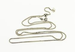 14K White Gold 1.3mm Square Chain Box Link Fancy Necklace
