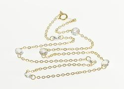 14K Yellow Gold Cubic Zirconia Beaded Cable Link Chain Necklace