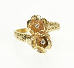 10K Yellow Gold Diamond Inset Flower Floral Bypass Freeform Ring