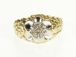 10K Yellow Gold Diamond Cluster Scalloped Trim Nugget Texture Ring