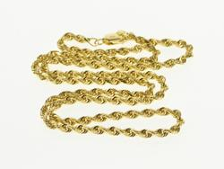 14K Yellow Gold 2.5mm Twist Rolling Link Chain Necklace