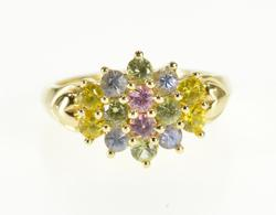 14K Yellow Gold Rainbow Cubic Zirconia Cluster Statement Ring