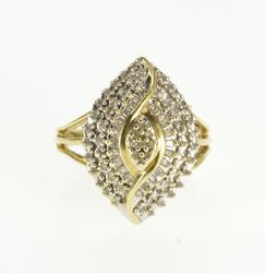 10K Yellow Gold Pointed Encrusted Diamond Statement Cluster Ring