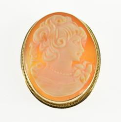 14K Yellow Gold Carved Shell Cameo Lady Bust Profile Pendant