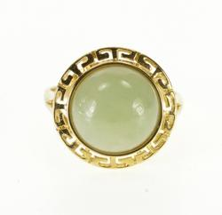 14K Yellow Gold Round Jade Cabochon Greek Key Wave Ring