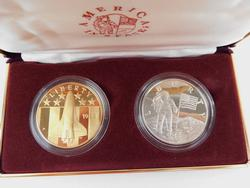America In Space Coin Proof Set w/COA, Silver & Copper