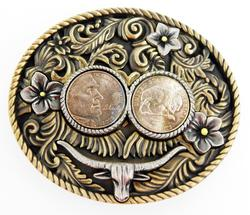Large Bison Nickels Wild West Belt Buckle w/COA