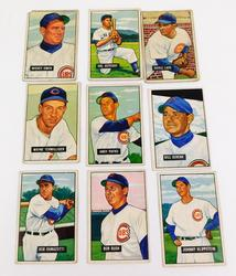 9 Bowman Gum 1951 Chicago Cubs Baseball Cards