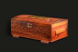 Lovely Decorated Antique Hinged Wooden Treasure Box