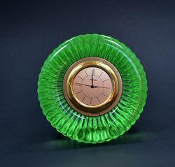 Rare Vintage Noritake Green Crystal Clock Paperweight