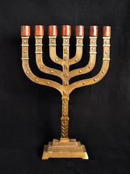 Rare 21 Inch Tall Crafted 7-Branch Solid Brass Menorah