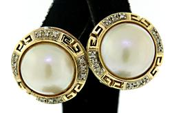 Mabe Pearl and Diamond Earrings