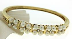 Amazing Pearl and Diamond Accent Bangle